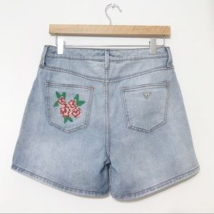 Guess Jeans Denim Shorts Embroidered Roses Size 28